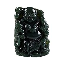 clin-kk Boutique Natural Green Jade Hand Carved Lucky Happy Laughter Maitreya Buddha Necklace Pendant