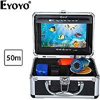 """Eyoyo 50M 1000TVL HD 水中 カメラ ナイトビジョン 魚群探知機 釣り フィッシュファインダー 7"""" LCD カラーモニター サンバイザー付"""