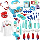 JOYIN Kids Doctor Kit 31 Pieces Pretend-n-Play Dentist Medical Kit with Electronic Stethoscope and Coat for Kids Holiday Gifts, School Classroom and Doctor Roleplay Costume Dress-Up.