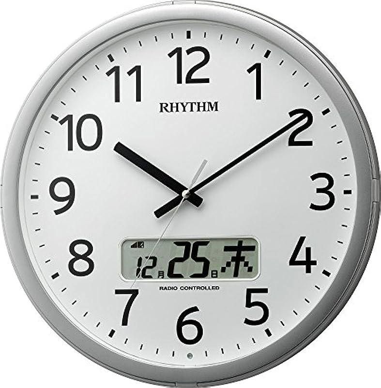 리듬 시계 RHYTHM 전파 벽시계 프로그램 캘린더01SR 차임벨 부착 실버색 4FNA01SR19
