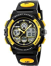 子供腕時計 アラーム キッズ腕時計 アナデジ 防水 日付 曜日 付き 夜光 LEDバックライト ギフト用 イエロー