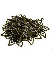 Baosity 10Pcs Flower Round Charm Pendant Base Cabochon Setting Bezel Pendant Blanks