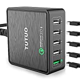 [Quick Charge3.0 対応] TUTUO QC-025P USB急速充電器 旅行 デスクトップ充電器 ACアダプター スマホ充電器 40W 同時急速充電可能 5ポート チャージャーXperia XZ / ZenFone 3 / HTC One A9/ iPhone 7/ iPad/ Android スマホ タブレット Nintendo Switch ニンテンドー スイッチ (ブラック)