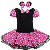 (フィーショー) FEESHOW ハロウィン コスプレ 子供 ワンピース リボン トッド柄 ドレス 子どもドレス 女 可愛い キッズ スカート 子供服 女の子用 カチューシャ付き 2点セット ホットピンク XL(5-6歳)
