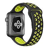 ナイキ ランニング Apple Watch スポーツバンド, Gersymi® スポーツバンド 交換バンド 対応 アップルウォッチ Nike+ / New Apple iWatch Series 2 / Apple Watch Series 1 (38mm, ブラック+イエロー)