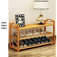 YNN 多層靴ラック竹家庭用玄関収納靴箱3層防塵廊下居間用寝室用 (サイズ さいず : 88*26*50cm)