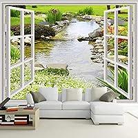 Lcsyp カスタム壁壁画壁紙現代シンプルな3Dウィンドウガーデン小さな川花草フレスコリビングルームの寝室写真壁紙-200X150CM