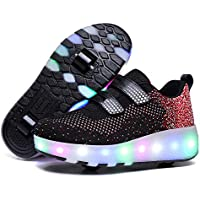 Unisex Kids Roller Skate Shoes Removable Become Sport Trainer USB Charge Led Shoes Boys Girls Wheels Shoes,Black,43