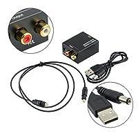 デジタル光同軸Toslink信号とアナログオーディオコンバータアダプタRCAデジタルアナログオーディオコンバータブラック