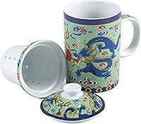 グリーンセラミックドラゴンTea Cup with Infuser