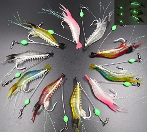 GuassLeeエビルアー10個5色釣りルアーキットエビワームソフトルアー餌擬似餌夜釣りプラスチック製光る釣り餌釣りフック付け