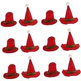Perfk サンタクロス ミニ帽子デザイン ワインボトルカバー トッパーカバー クリスマスディンナー パーティー 食卓 装飾 12個入り