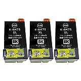 ICBK75(BK/ブラック)×3本セット【大容量】 [EPSON]エプソン 新互換インクカートリッジLED・残量表示付き (最新型ICチップ付き)  【A.I.S製品】
