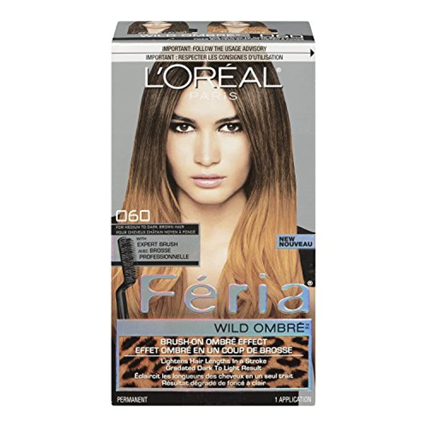 属性固執プラットフォームL'Oreal Feria Wild Ombre Hair Color, O60 Medium to Dark Brown by L'Oreal Paris Hair Color [並行輸入品]