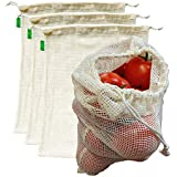 "AUXIN™,Reusable Grocery Cotton Mesh Produce Bags【Large 13"" x 15""】,100% Cotton Vegetable/Fruit Storage Bags,Premium Quality,Ultra Strong,Food Grade,Replace Plastic,Eco-Bag (4 Bags)"