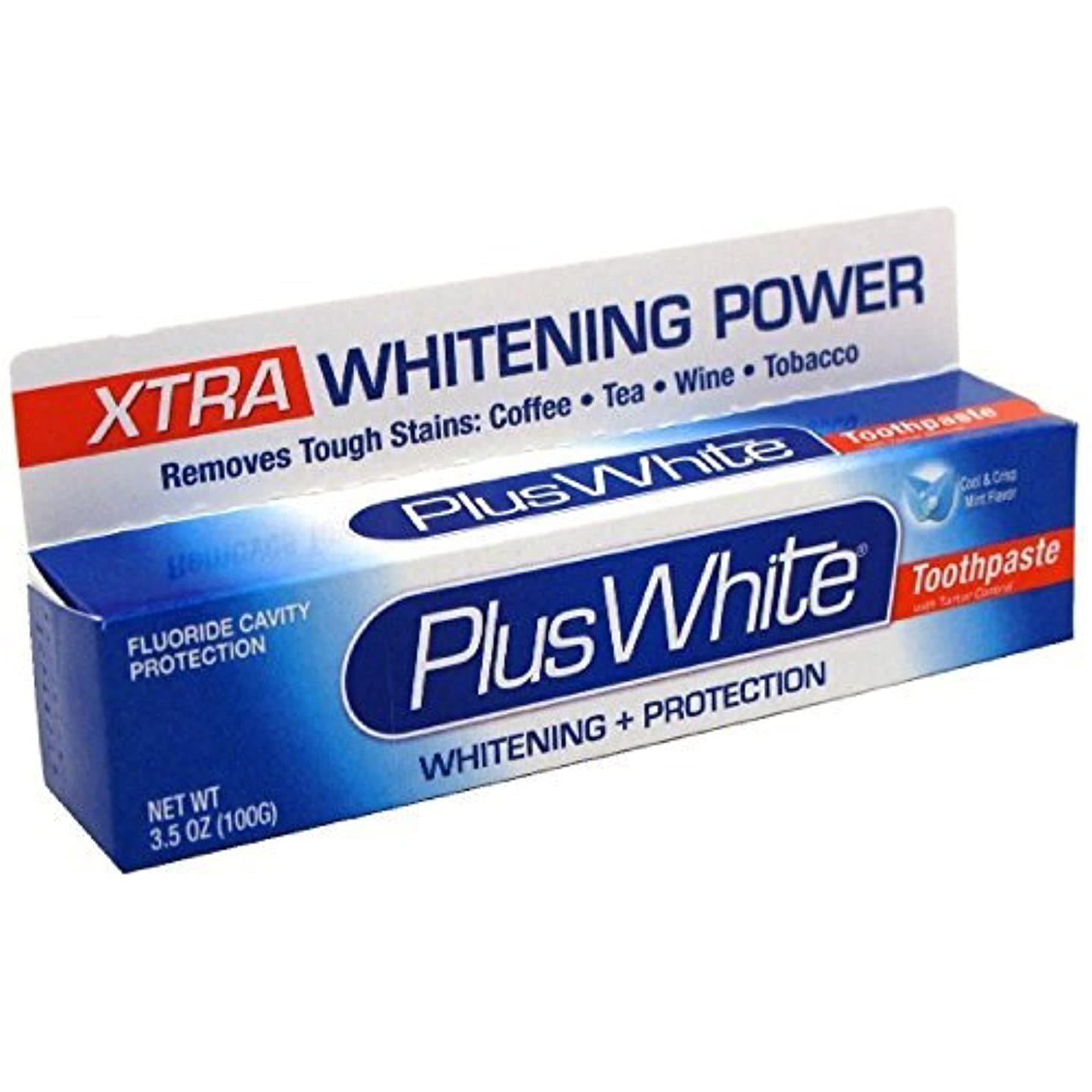 独立した広げるクリックPlus White Whitening + Protection Toothpaste, Xtra Whitening Power Cool & Crisp Mint 3.50 oz by Plus White