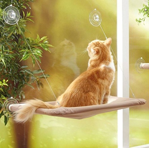 Miyinla 猫用ハンモック 窓枠座り台 猫窓用ベッド 4つの強力吸盤 4季兼用 通気性良い 日光浴 ストレス発散 自然の風景を提供し 水洗い可能 最大耐重15KG 送料無料