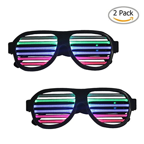 [Sourcingbay]Sourcingbay 2 Pack Light up LED Glasses Multi Color Sound & Music Flashing Light with USB Charger for [並行輸入品]