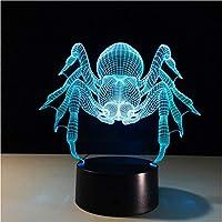 Wxmca くも3D視覚錯覚ランプの透明なアクリルの夜ライトはタッチテーブル3Dランプを変える妖精色を導きました