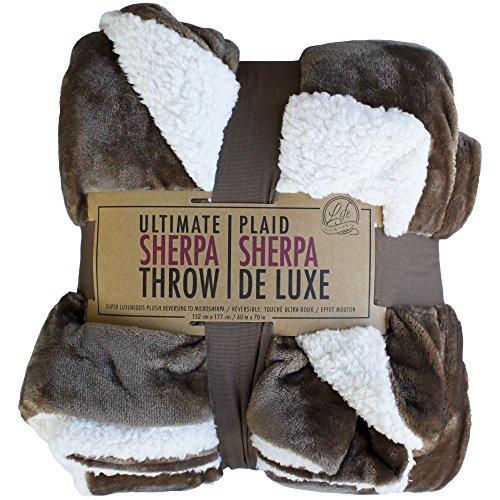 Ultimate Sherpa Throw ライフコンフォート ブランケット 毛布 大判ひざ掛け 152cm×177cm ブラウン