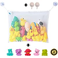 Bath Toy Organizer With 5 Squirter Bath Toys, 2 Extra-Strong Suction Cups and 2 Ebooks, Large Size Washable Net. by Bath Fun Time