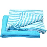 green sprouts Muslin Swaddle Blankets made from Organic Cotton,Aqua Set by green sprouts