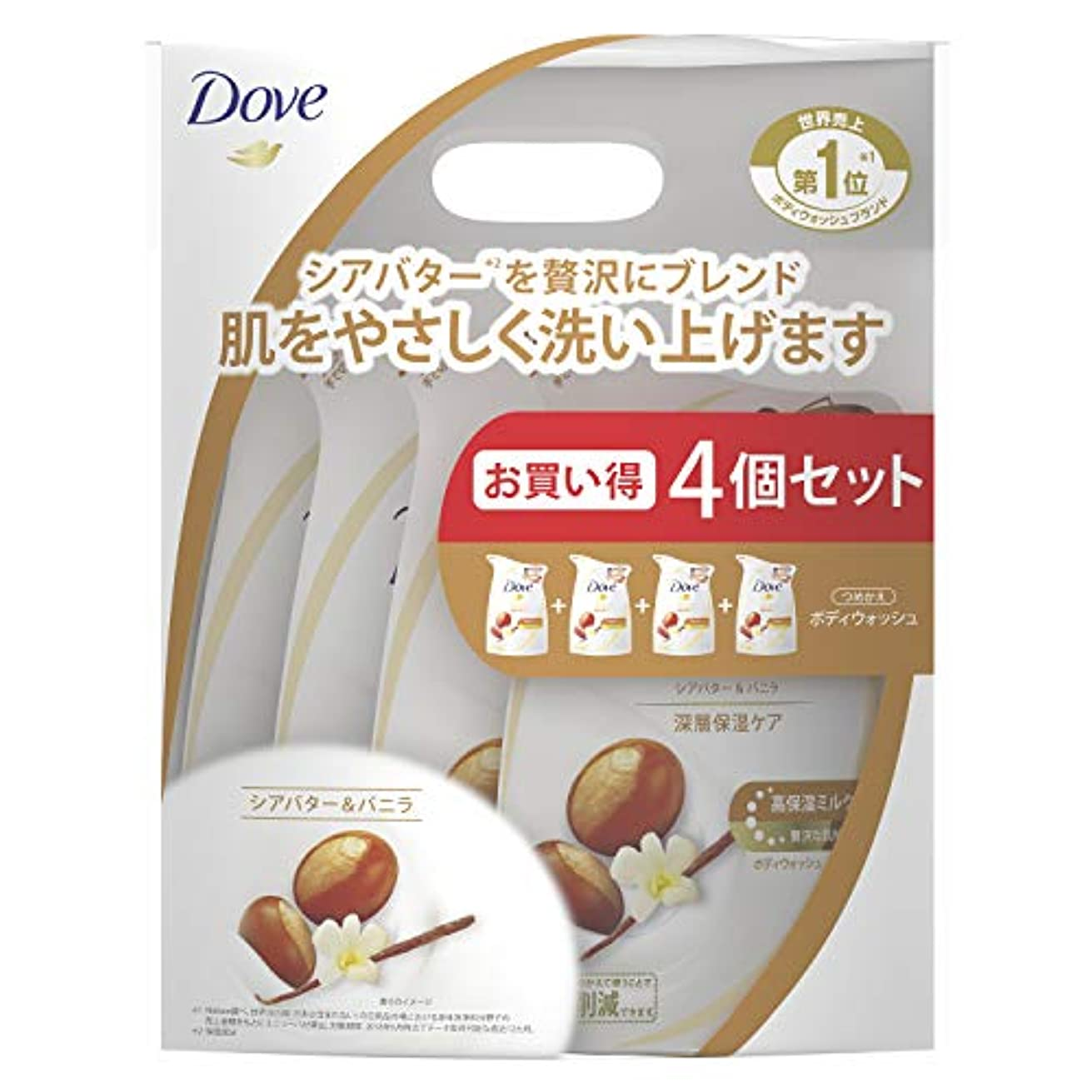 Dove(ダヴ) ダヴ ボディウォッシュ リッチケア シアバター&バニラ つめかえ用 4個セット ボディソープ 詰替え 340g×4個