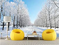 Bzbhart カスタム風景の壁紙、リビングルームの寝室のテレビの背景の壁の防水壁紙のための冬の雪の木-350cmx245cm