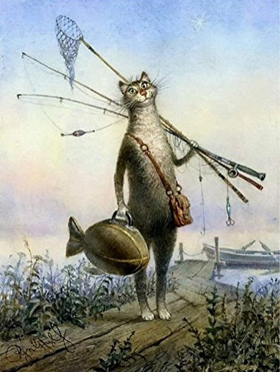 KeyYouNi Framed Cat Fishing Animals Diy Digital Oil Painting Paint By Numbers Kit Drawing Painting for Kids