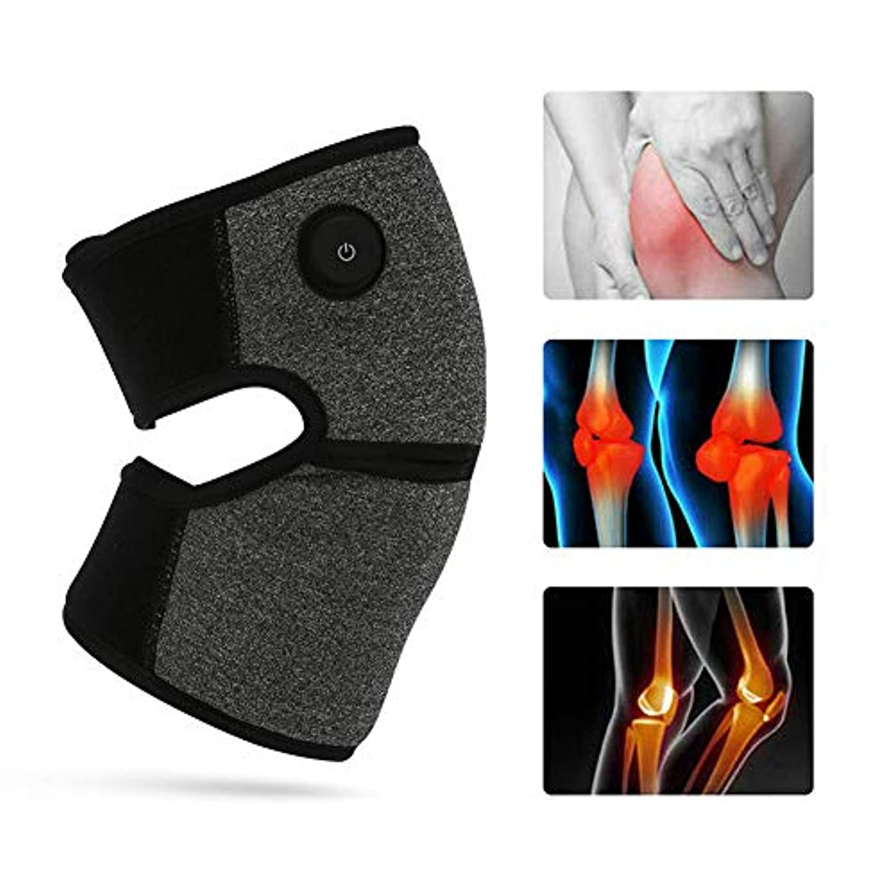 電気加熱膝パッド加熱膝ブレースラップサポート療法ホット圧縮3ファイル温度で関節炎膝の痛み,1pc