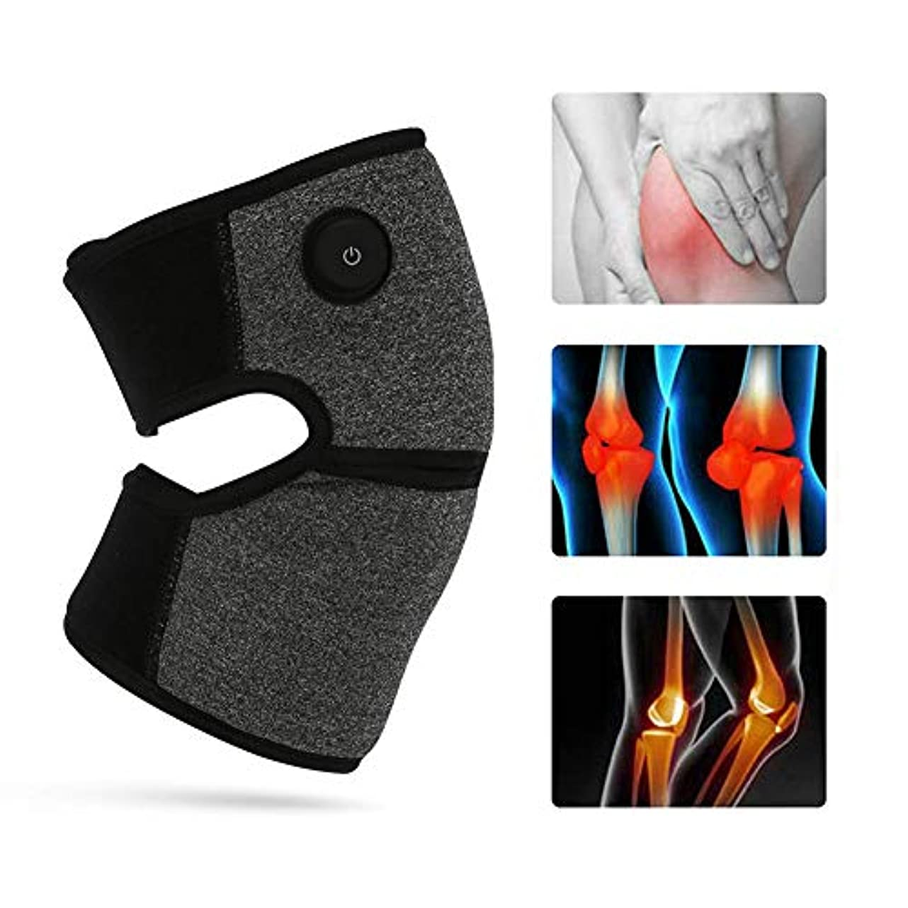 北へ津波エキスパート膝関節炎のための3ファイル温度加熱膝装具療法ホット圧縮による電気加熱膝ラップサポート,2pcs