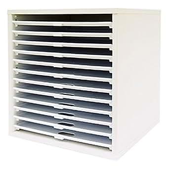 キューブボックスα 12段トレータイプ ホワイト 浅型 書類ケース 書類棚 書類整理棚 A4 木製 プラスチック 引き出し 12段 ホワイト