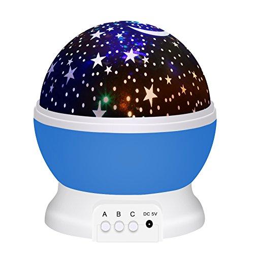 WAWJ スタープロジェクター ナイトライト 星空ライト 多色変更 プラネタリウム 投影 360度回転 USB 電池 クリスマス 結婚式 学園祭 パーティー 飾り 誕生日プレゼント (ブルー)