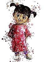 ウォールアート水彩画ポスタープリントモンスター、Inc、ブーの漫画のキャラクターサイズ30センチメートル×43センチメートル12インチ×17インチ