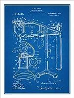 """1919麻酔薬マシン特許印刷アートポスター額なし青写真18"""" x 24"""""""