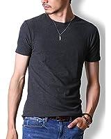 FTELA(フテラ)メンズ シャツ Tシャツ 無地 半袖 丸首 クルーネック シンプル スリム 春 夏 ダークグレー L