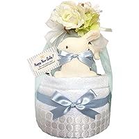 おむつケーキ 今治タオル オーガニック 出産祝い 男の子 2段 6001(1歳のお誕生日プレゼント)