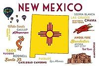 新しいメキシコ–Typographyとアイコン 24 x 36 Giclee Print LANT-66481-24x36