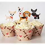 24 Dog Cupcake Toppers & Wrappers - Red Fox Tail