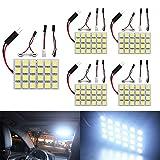 Ever-Bright 24連 5050 ホワイト LED ルームランプ ドームライト3種類アダプター付き DC12V専用 5個