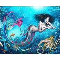 ホームデコレーションdiy漫画人魚ダイヤモンド刺繍絵画5dダイヤモンドモザイクダイヤモンド絵画クロスステッチ壁ステッカー,30x40cm