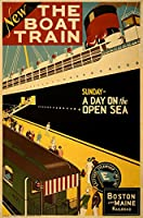 旅行ポスターボート列車ボストンとMaine紙のポスター18x 24)