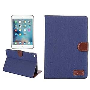 iPad mini4 ケース タブレットケース カバー アイパッド ミニ4 スタンド機能付き レザーカバー カード収納付き ブックカバータイプ 手帳型ケース 横開き デニム調 液晶保護フィルム タッチペン プレゼント (ダックブルー)
