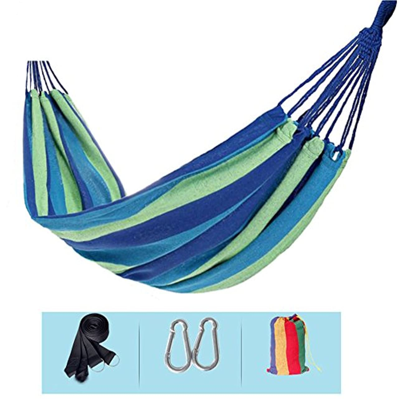 シエスタ反動普遍的な屋外か屋内旅行のためのパッドを入れられた単一のキャンバスの屋内大人学生のハンモック (色 : 青)