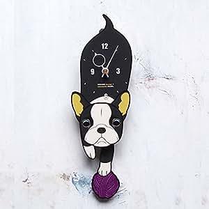 D-IG ボストンテリア-犬の振り子時計