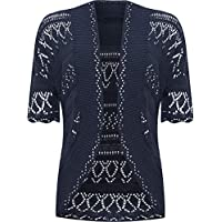 WearAll Womens Plus Size Knitted Crochet Short Sleeve Top Shrug Open Cardigan - Navy Blue - 24-26