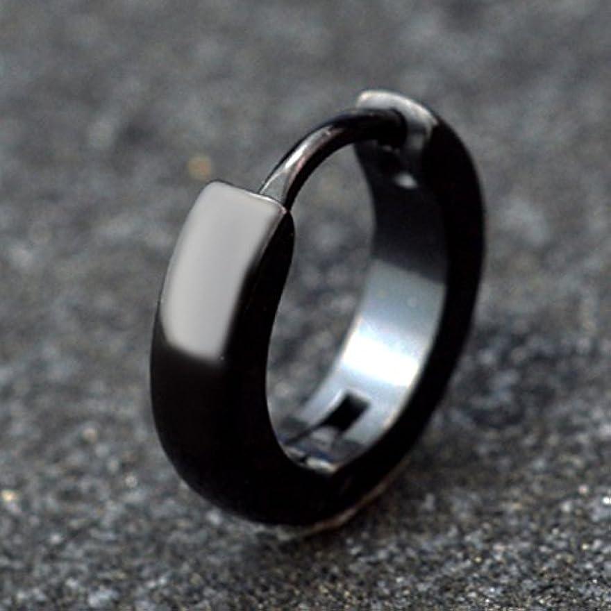 マウンドめんどり息切れシンプル ブラック サークル モチーフ ステンレス ピアス (ブラック)
