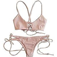 Sexy Women Halter Bikini Set Bandage Push-Up Padded Tie Swimwear Swimsuit Beachwear Pink