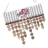 Fenteer 木製カレンダーボード 50枚のディスク 50個のアセンブリフック 祝日 リマインダー ボード プラークハング デコレーション 5タイプ選べ - タイプ2