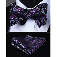 HISDERN Fashion Bow Ties for Men Elegant Paisley Bowtie + Handkerchief Set Wedding Party Self-Tied Bowties for Present